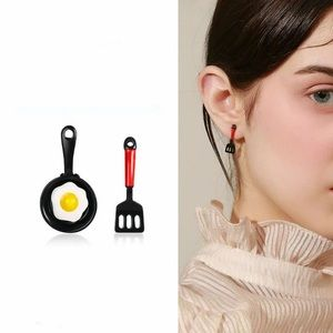 Fried Egg & Spatula Breakfast Asymmetric Earrings